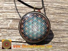 Flower of Life - Sacred Geometry - Orgone Tesla Pendant- EMF Blocker - Chakra Balancing - FREE Necklace - Hand Made
