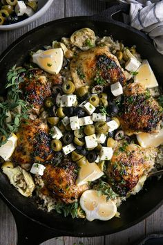 One Pot olive Chicken with Lemon Rice Black cast iron skillet filled with cooked chicken thighs set on top of baked lemon rice filled with green and black olives and artichokes. Healthy Dinner Recipes, Great Recipes, Cooking Recipes, Favorite Recipes, Budget Recipes, Skillet Recipes, Cooking Gadgets, Entree Recipes, Fun Cooking