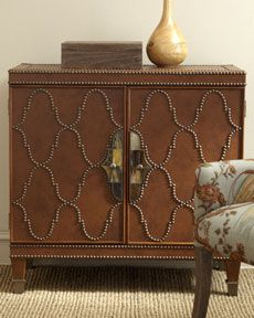 Leather and brass tacks sideboard