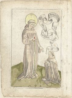 Monogrammist MB (Nederlanden) | Heilige Franciscus met knielende franciscaan, Monogrammist MB (Nederlanden), 1450 - 1500 |