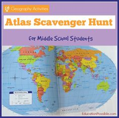 A FREE printable scavenger hunt to assist students in learning information about places around the world and becoming familiar with the format of an atlas