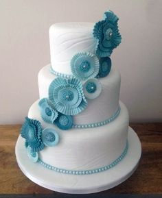 Looking for cake decorating project inspiration? Check out Sea green rosette wedding cake by member Kims Cakes. Royal Blue Wedding Cakes, Wedding Cake Fresh Flowers, Elegant Wedding Cakes, Beautiful Wedding Cakes, Beautiful Cakes, Cake Flowers, Flower Cakes, Sugar Flowers, Simply Beautiful