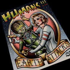 Earth Attacks Tattoo Art print by ParlorTattooPrints on Etsy
