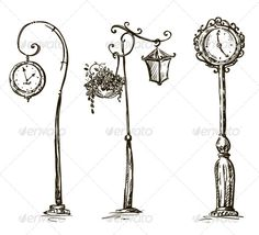 Street Clocks and a Lamp Post Hand-Drawn  #GraphicRiver         Street