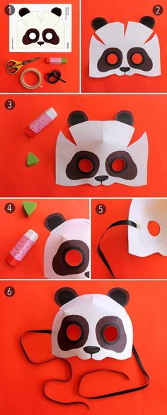 Easy with printable panda mask template + instructions. Watch short video and see how easy it is to make! Print paper panda mask for adults or kids, today. Paper Crafts For Kids, Diy Paper, Diy For Kids, Animal Masks For Kids, Mask For Kids, Panda Maske, Mask Paper, Theme Carnaval, Printable Animal Masks