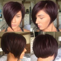 This Burgundy Asymmetrical Pixie Bob with Side Swept Bangs and Fringe Short Hairstyle is a great modern cut for someone seeking a chic versatile style. This asymmetrical pixie-bob can be worn disheveled and wavy or polished, with a blowout or use a flatiron for a sleek style. Its a great style to easily take you from work to play. Styling tips for this asymmetrical pixie-bob and other similar short hairstyles can be found at Hairstyleology.com