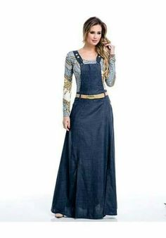 Trendy Denim Long Maxi Dress Fashion for Ladies – Designers Outfits Collection Fashion Mode, Hijab Fashion, Fashion Dresses, Denim Maxi Dress, Dress Skirt, Feminine Style, Skirt Outfits, Dress Collection, Dress To Impress