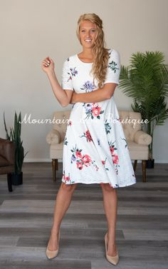 The Belle -Floral – Mountain Aire Boutique Eyelet Dress, Boutique Clothing, How To Make, How To Wear, Mountain, Floral, Fabric, Skirts, Sleeves