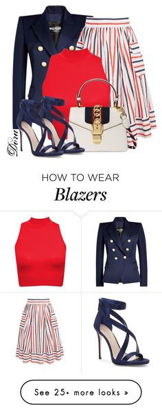 """""""Senza titolo #6449"""" by doradabrowska on Polyvore featuring Balmain, Gucci and Imagine by Vince Camuto"""