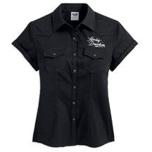 Women's Short Sleeve Embellished Winged Woven Shirt | MotorClothes® Merchandise | Harley-Davidson USA