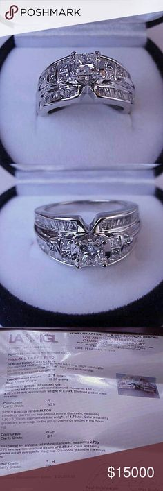 $20050  14k white gold 2.76ct diamond ring Appraisal for $20,050 included.  This engagement ring features 1 (one) 4.96mm x 4.95mm x 3.98mm apr..65ct natural princess cut diamond of very high quality vs in clarity and g in color  and 50 baguette and princess cut diamonds estimated  2.11carats. On the shoulders.  H in color and si in clarity.  Weight 10.3gr. Size 7. Jewelry Rings