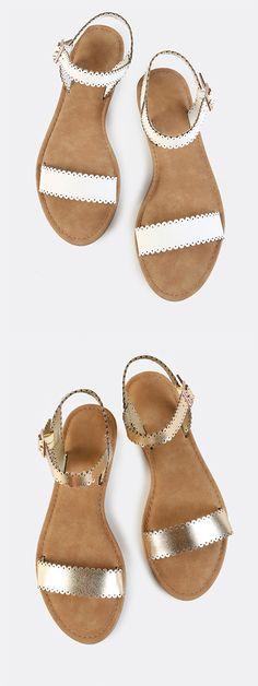Scalloped Trim Flat Sandals WHITE