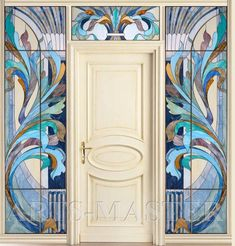 "Витражная перегородка ""Лазурит"" Modern Stained Glass, Stained Glass Door, Stained Glass Designs, Stained Glass Panels, Stained Glass Patterns, Glass Painting Patterns, Dot Art Painting, Mosaic Wall, Mosaic Glass"