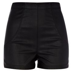 River Island Black leather look high waisted shorts ❤ liked on Polyvore featuring shorts, vegan leather shorts, river island, high rise shorts, faux leather shorts and highwaist shorts