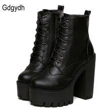 Gdgydh Hot Sale Preto Saltos Quadrados Botas de Plataforma Ankle Boots feminino Rendas Até As Mulheres Sapatos Da Moda 2017 Primavera Outono Novo marca alishoppbrasil