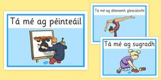 display posters for common 'ag' action words in Irish. Action Words, Family Guy, Comics, A4, Irish, Posters, Display, Fictional Characters, Floor Space