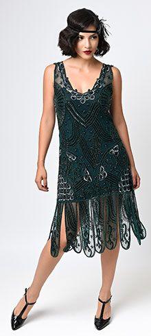 Iconic by UV Green Beaded Mesh Isadora Fringe Flapper Dress   Unique Vintage