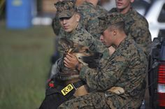 U.S. Marine Corps Lance Cpl. Casey Deskins, with the Military Police Department at Marine Corps Base Hawaii, Kaneohe Bay, plays with Ronnie, his military working dog partner,