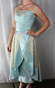 DRESS  EVENING GOWN  2 piece  baby blue  by angelinesattic on Etsy, $145.00