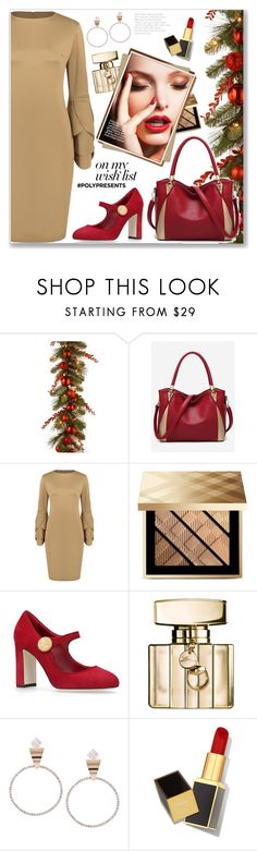 """""""#PolyPresents: Wish List"""" by jecakns ❤ liked on Polyvore featuring Burberry, Dolce&Gabbana, Gucci and Tom Ford"""