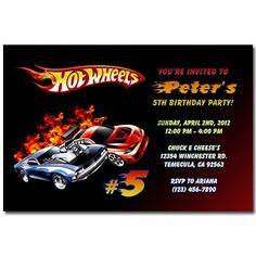 Free Printable Hot Wheels Invitations Personalised Hot Wheels