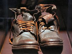 Shoes found in a leather suitcase on the Titanic.