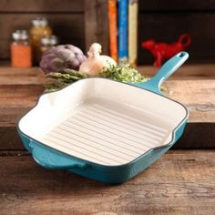 "Turquoise Cast Iron Grill Pan 10.25"" Pioneer Woman Line Square Cookware New #ThePioneerWoman"