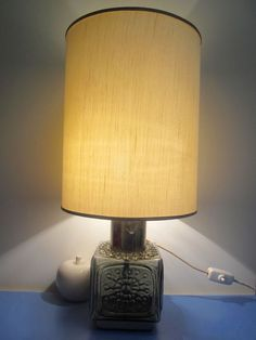 Dartington Frank Thrower Lampe Tischlampe Glas Seidenschirm 70er table lamp 70s