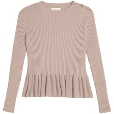 Ribbed Peplum Pullover (€330) ❤ liked on Polyvore featuring tops, sweaters, shirts, brown sweater, crew neck shirt, peplum shirt, shirt sweater and crew neck sweaters