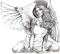 A beautiful and sexy angel in pin-up style. Black and gray tattoo for men. Style: Black and Gray. Color: Gray. Tags: Beautiful, Sexy