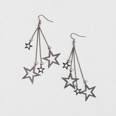 Dark Silver Star and Chain Drop Earrings | Claire's