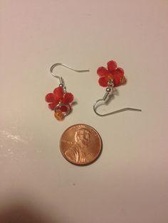 Little fabric flower earrings
