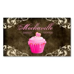 Bakery Business Card Cupcake Suede Brown Cream $32.95 per pack of 100!!
