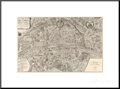 Plan de la Ville de Paris, 1715 Giclee Print by Nicolas De Fer at AllPosters.com Framed Artwork, Wall Art, Architectural Prints, Paris Ville, Frames On Wall, Custom Framing, Printing Process, Find Art, Giclee Print