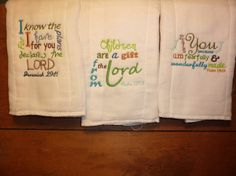 Bible verses burp cloth set 3 by 4my4creations on Etsy, $12.00