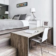 A clever approach to incorporating an office into a bedroom - designed by Daniele Petteno  via @houseandgardenuk #homeoffice #doubleduty #innovative #contemporary #modern #design #bedroom #office #clever #splitlevel #inspired #interiordesign