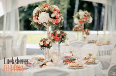 coral wedding flowers, coral wedding decor