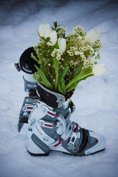 Ski Wedding!! Love but instead snowboard boots
