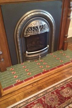 Victorian House Interiors, Victorian Homes, Fireplace Pictures, Interior And Exterior, Interior Design, Victorian Fireplace, Fireplace Hearth, Handmade Tiles, Retro Home