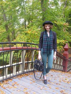 vintage, hat, outfit of the day, fashion, oxfords, green jeans, urban outfitters, scarf, fall, plaid, J. Crew, blazer, autumn