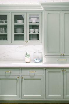 Sage Kitchen, Galley Style Kitchen, Kitchen Redo, Kitchen Styling, Kitchen Remodel, Kitchen Nook, Kitchen Layout, Country Kitchen, Kitchen Ideas