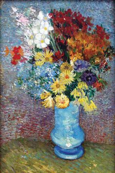 Flowers in a Blue Vase, by Vincent van Gogh