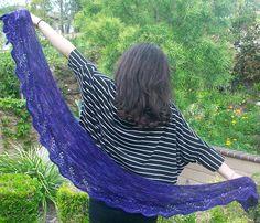 Ravelry: Deep Purple Crescent Shaped Lace Shawlette or Scarf pattern by Pam Jemelian