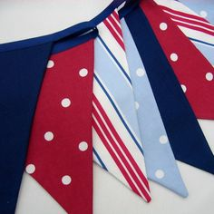 Fabric Bunting  Nautical Style  Red White Blue Navy  9 double sided pennant flags 8 foot long plus ties New Handmade