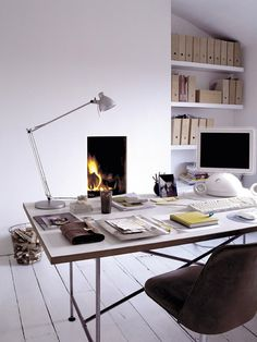 Home Office Design, Pictures, Remodel, Decor and Ideas - page 7 Home Office with a Fireplace ? Great design with the backdrop of color with . Home Office Space, Home Office Design, Home Office Decor, Office Designs, Office Ideas, Office Style, Office Furniture, Workspace Inspiration, Interior Inspiration