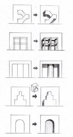 立面図の影のつけ方の基本パターン14種類 l 見るだけで上達する手描きパースの描き方ブログ、パース講座(手書きパース) Interior Architecture Drawing, Architecture Drawing Sketchbooks, Architecture Concept Drawings, Interior Design Sketches, Drawing Interior, Perspective Drawing Lessons, Perspective Art, Sketches Tutorial, Drawing Practice