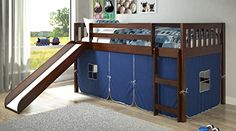 Twin Mission Blue Tent Loft Bed with Slide
