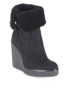 MONCLER Regine Shearling & Suede Wedge Booties. #moncler #shoes #boots |  Moncler | Pinterest | Moncler, Wedges and Light beige