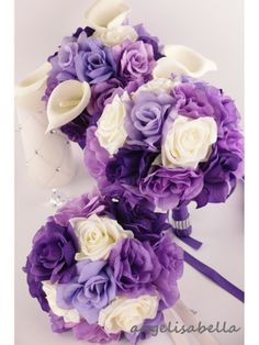 Reserved-Ashley-3 / 8 / 2014-Shades of purple Wedding bridal party flower-table centerpiece