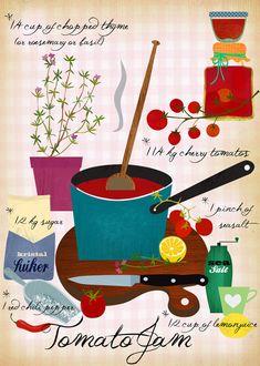 Etsy の Tomato Jam Recipe Art Print by sevenstar